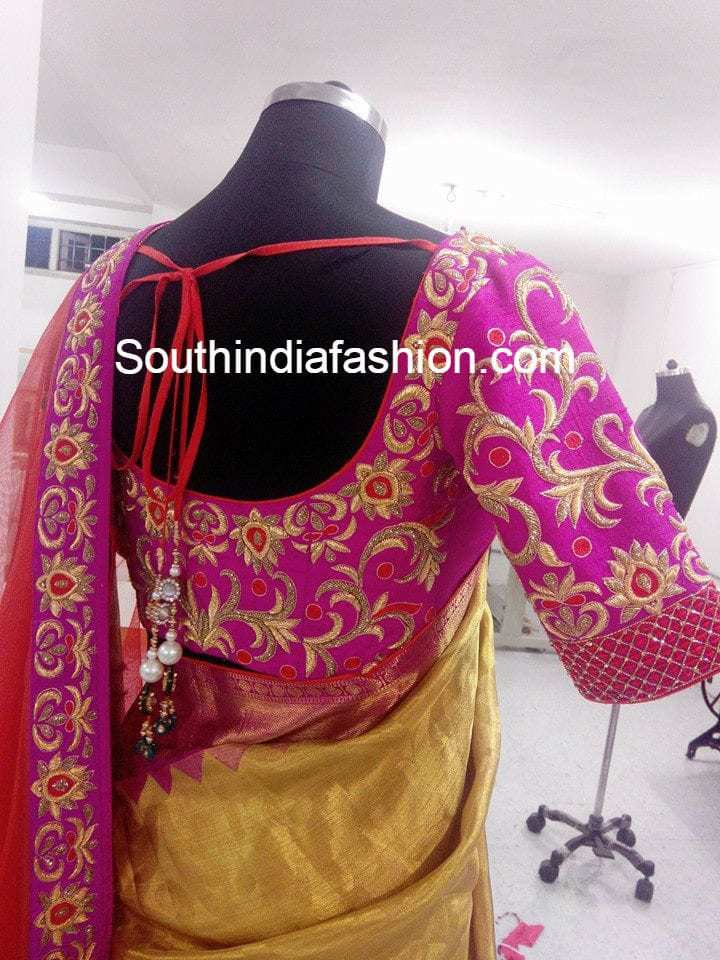 embroidered wedding saree blouse