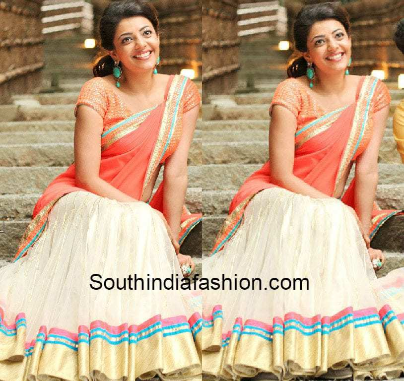 Kajal aggarwal in half saree south india fashion kajalaggarwalhalfsareefromjillamovie kajal aggarwal in jilla movie thecheapjerseys Images