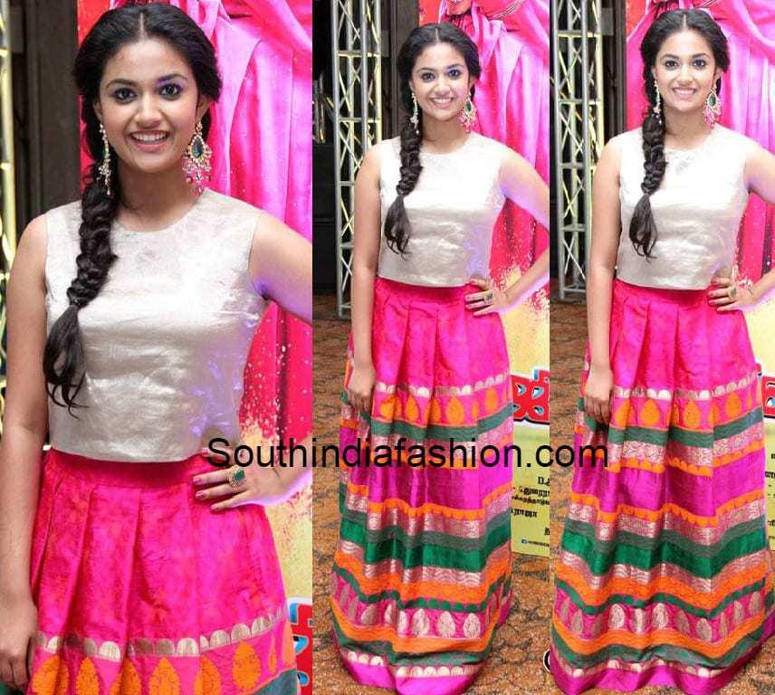 Keerthi Suresh In Silk Skirt South India Fashion