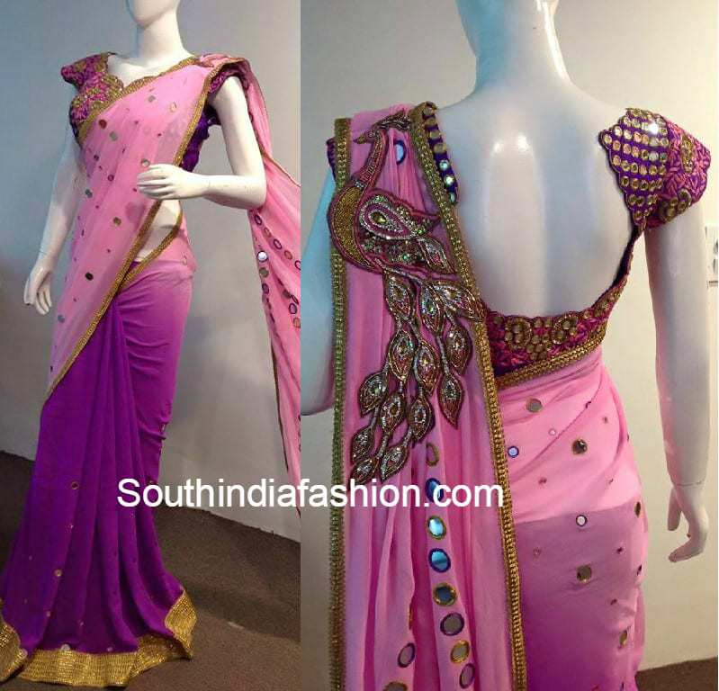 peacock_mirror_work_saree