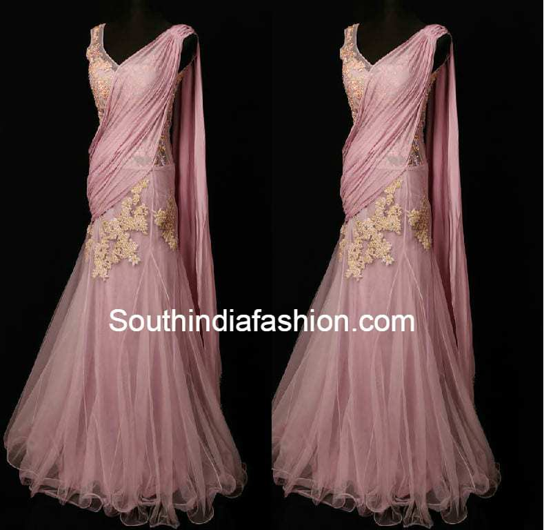 Pink Saree Gown –South India Fashion
