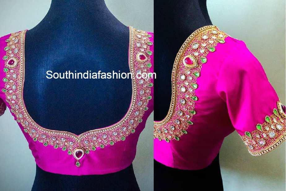 Simple Blouse Designs With Work: Maggam Work Blouse Designs u2013 South India Fashionrh:southindiafashion.com,Design
