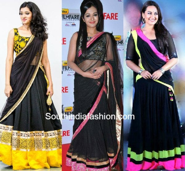 black_half_sarees