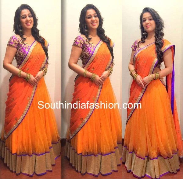charmmee_in_shilpareddy_orange_halfsaree1
