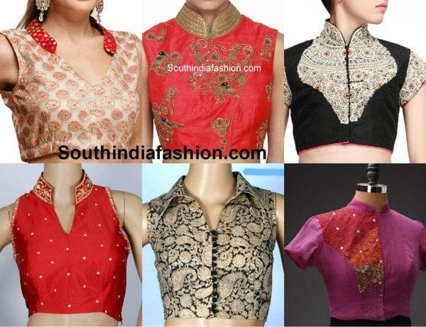 Stand Collar Neck Designs For Blouse : Blouse neck designs south india fashion