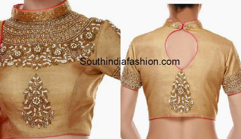 gold_high_neck_blouse_for_sarees_and_lehengas