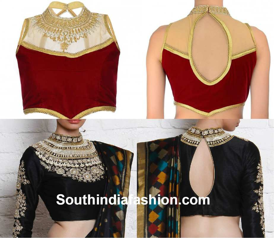 304f1a7a5f7f67 high_neck_blouse_designs High Neck Blouse Designs