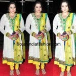Meena in White Anarkali