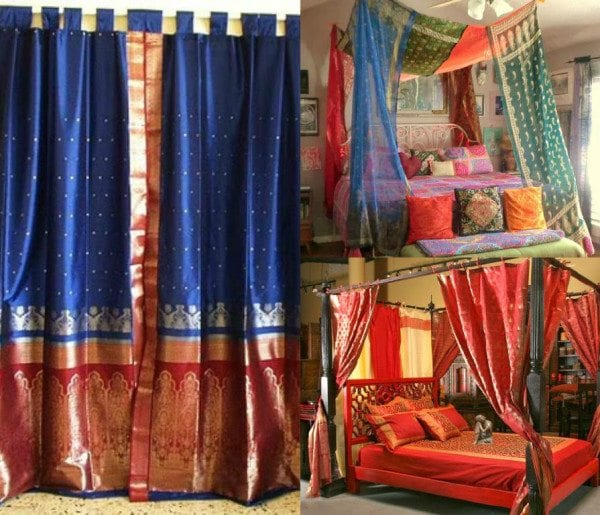 old_sarees_reused_as_decor