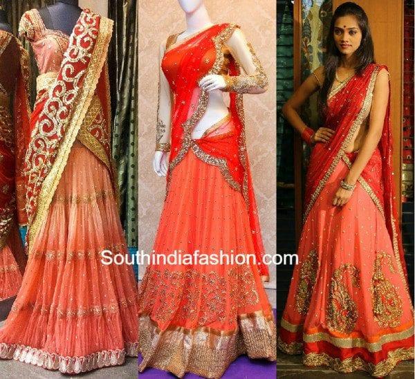 peach_color_bridal_half_sarees