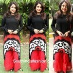 Ramya Krishna in High-Low Kurti and Palazzo Pants