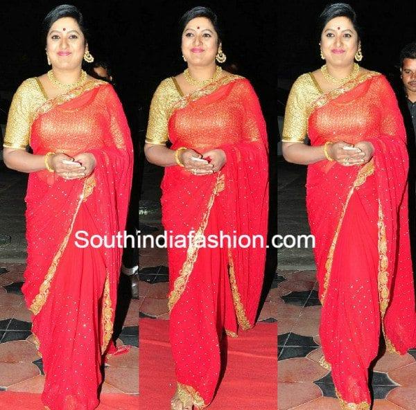 Sana In Red Saree –South India Fashion
