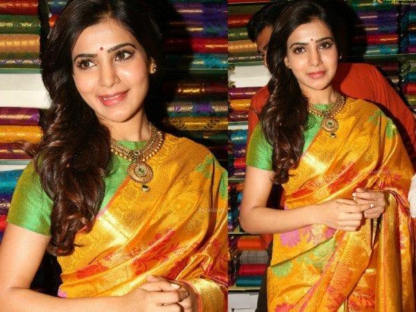 Samantha in a yellow kanjeevraram saree