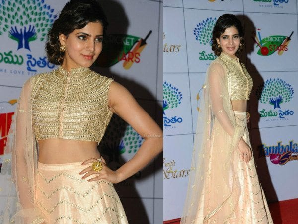 Samantha in a gold sequined blouse