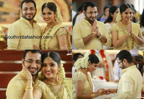 Muktha – Rinku Tomy Engagement and Wedding Photos – South India Fashion