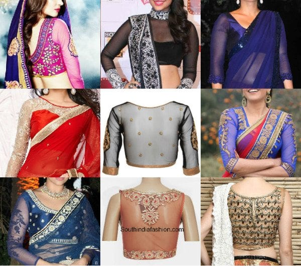 Beautiful Net Blouse Designs For Sarees South India Fashion