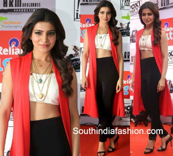 samantha_at_10 Endrathukulla_Teaser_Launch_koecsh_dress