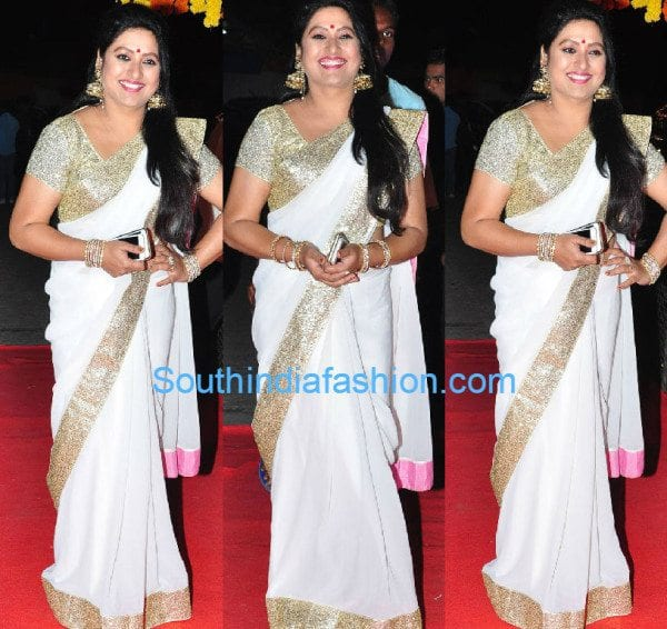 sana_white_sequins_saree_srimanthudu