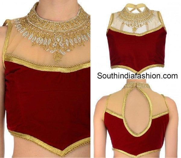sleeveless high collar sheer blouse