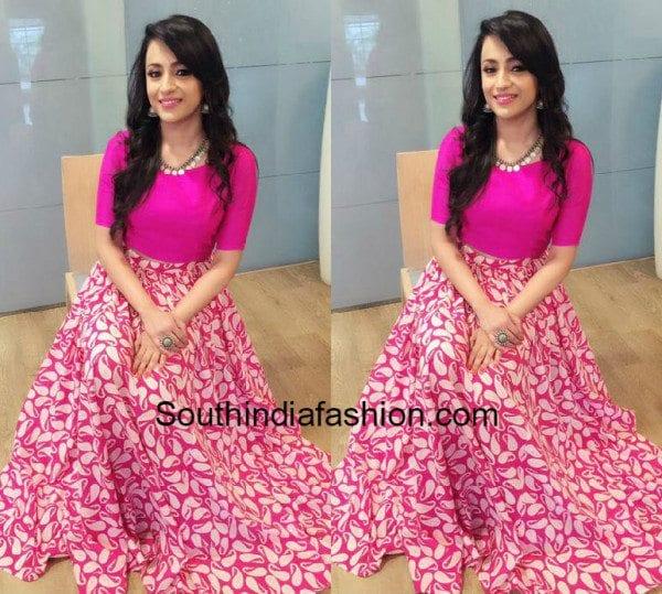 Trisha Krishnan In Long Skirt And Crop Top South India Fashion