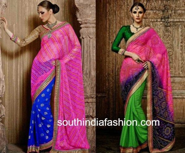 half and half bandhani sarees