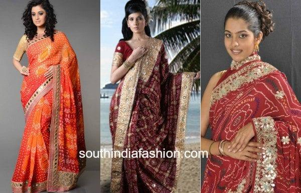 bandhni sarees with work