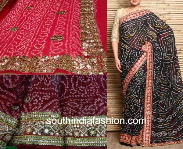 bandhani sarees with work