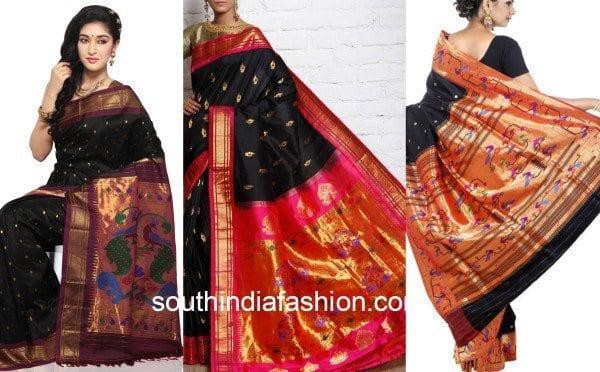 black paithani sarees