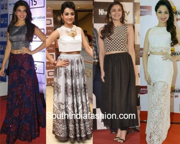 celebs in crop top and skirt
