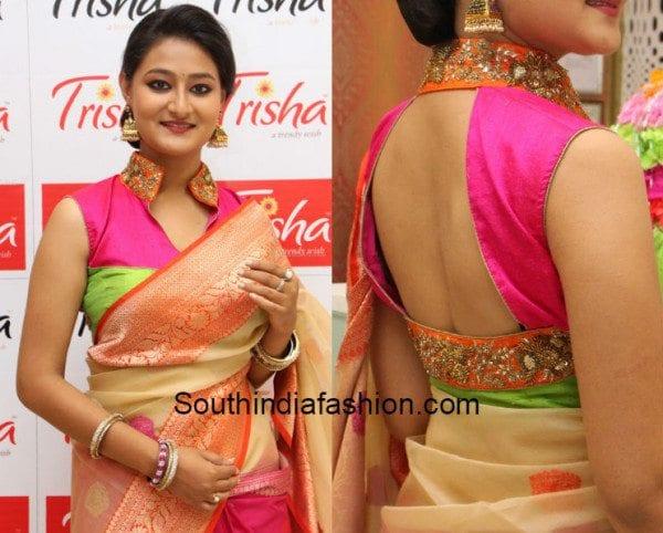 collar_neck_blouse_with_kanjeevaram_silk_sarees