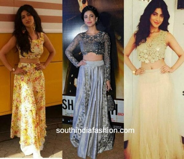 shruti hassan in crop top and skirt