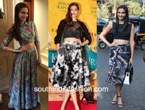 sonam kapoor in crop top with skirt