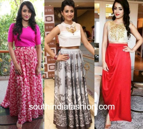 trisha in crop top and skirt