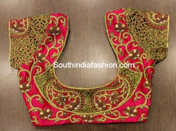 Cut Work Blouse Designs for Silk Sarees –South India Fashion