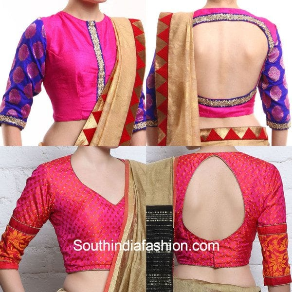 elbow_sleeves_brocade_pattu_blouse_designs