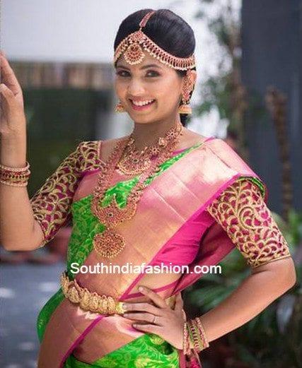 green_pattu_saree_cut_work_blouse