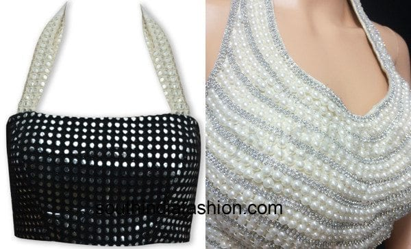 halter neck blouses with mirror and pearl work