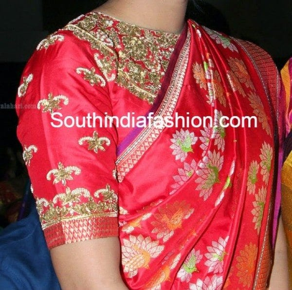 high_neck_blouse_for_silk_sarees