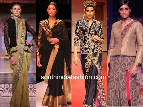 eeb469c48bcde1 6 Ways of using a  Jacket Blouse  to style your saree - South India ...