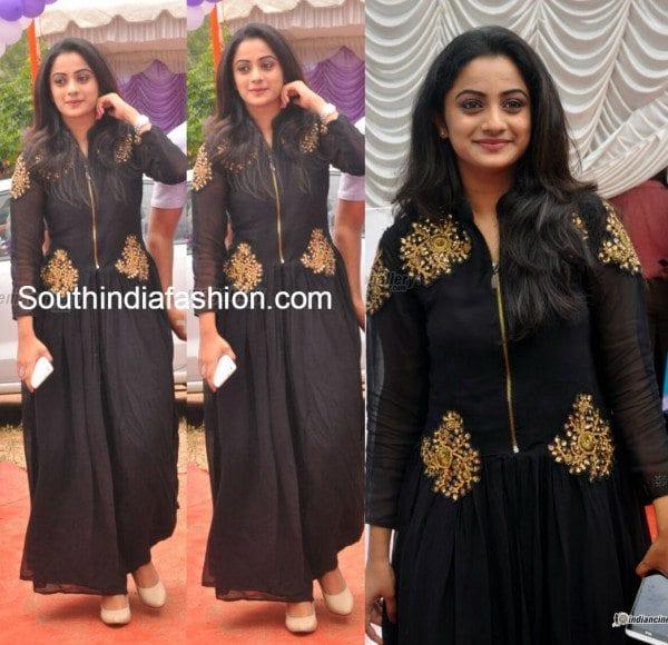 namitha_pramod_black_anarkali_at_saranya_wedding_reception