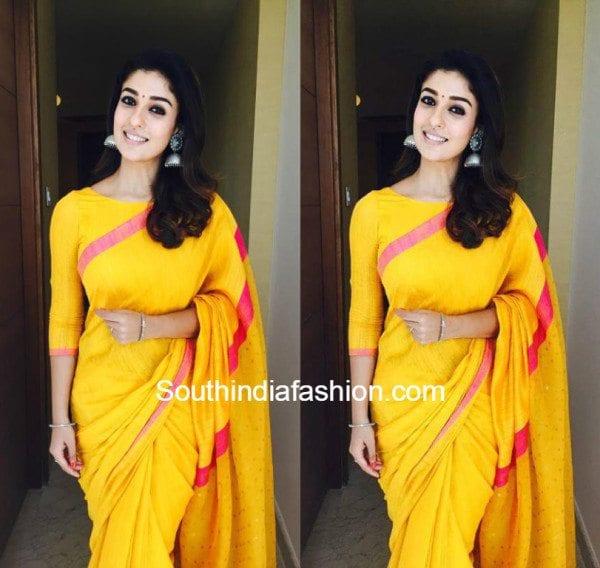 Nayanthara In Yellow Saree South India Fashion