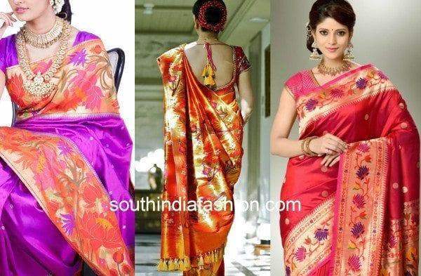paithani silk sarees with flowers