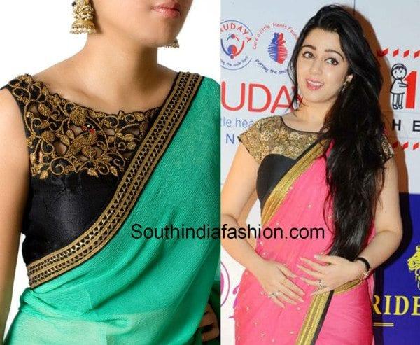 plain_saree_with_boat_neck_designer_blouse