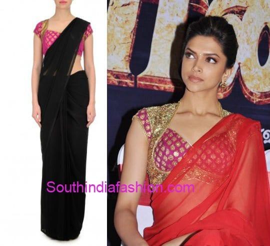 plain_saree_with_contrast_brocade_blouse