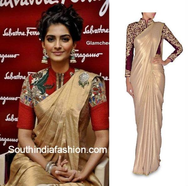 plain_saree_with_designer_blouse_ideas