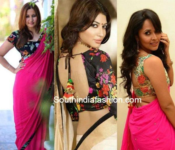 plain_saree_with_floral_print_blouse