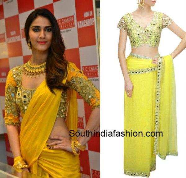 plain_saree_with_mirror_work_blouse