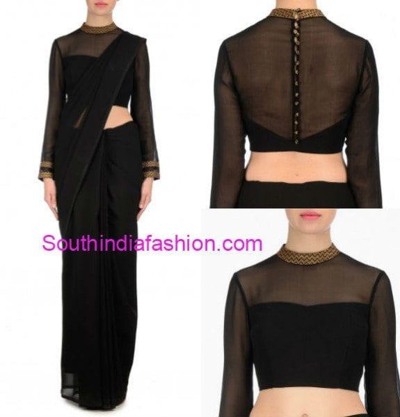 plain_saree_with_net_designer_blouse