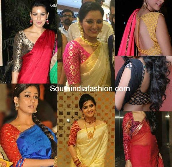 plain_sarees_with_brocade_deisgner_blouse