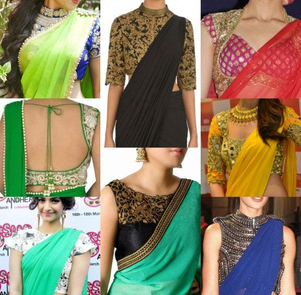 12 Awesome Plain Saree With Designer Blouse Ideas